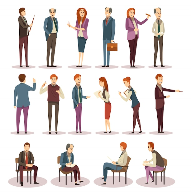 Business trainings and coaching icons set Free Vector