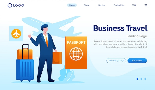 Business travel landing page website illustration flat vector template Premium Vector