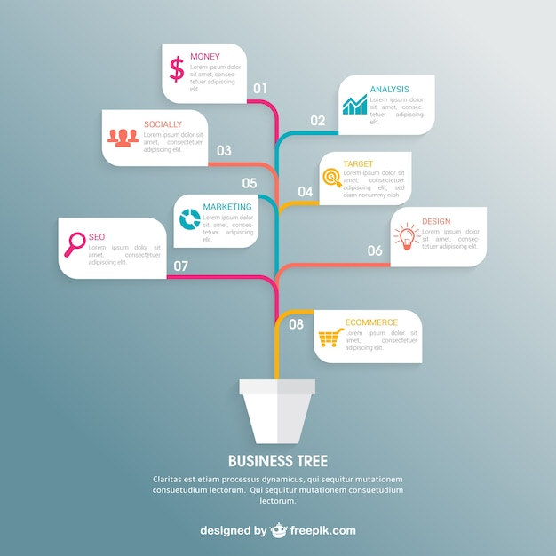 business tree infographic free vector