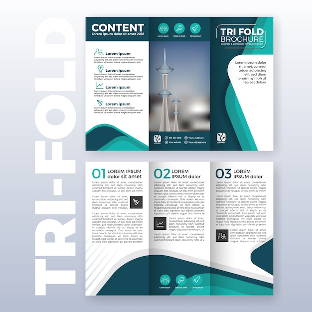 business tri fold brochure template design with turquoise color scheme in a4 size layout with
