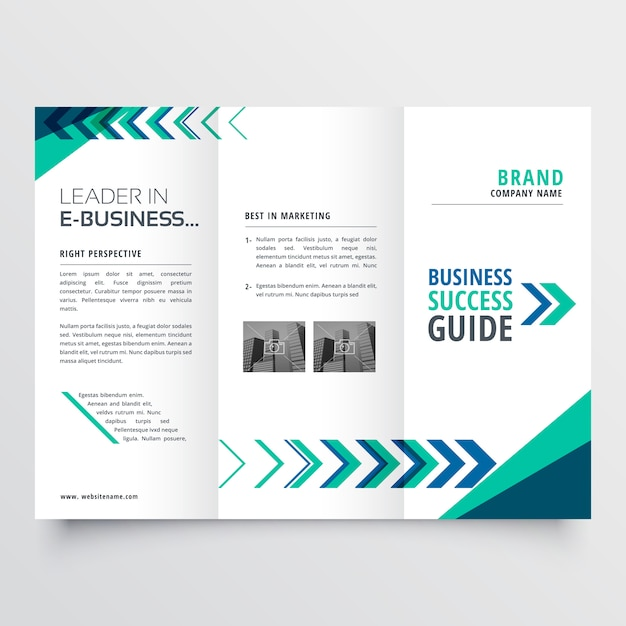 Business tri fold brochure template design Free Vector