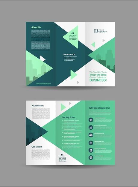 Business tri-fold brochure Premium Vector