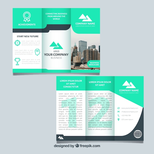 Business trifold in abstract style Free Vector