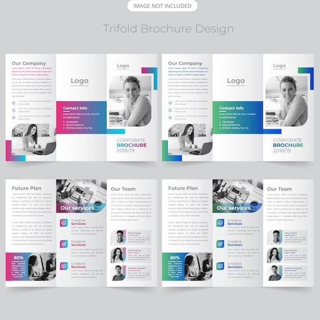 Business trifold brochure design Premium Vector