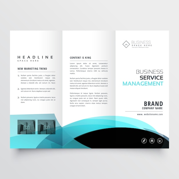 Business trifold brochure template design Free Vector