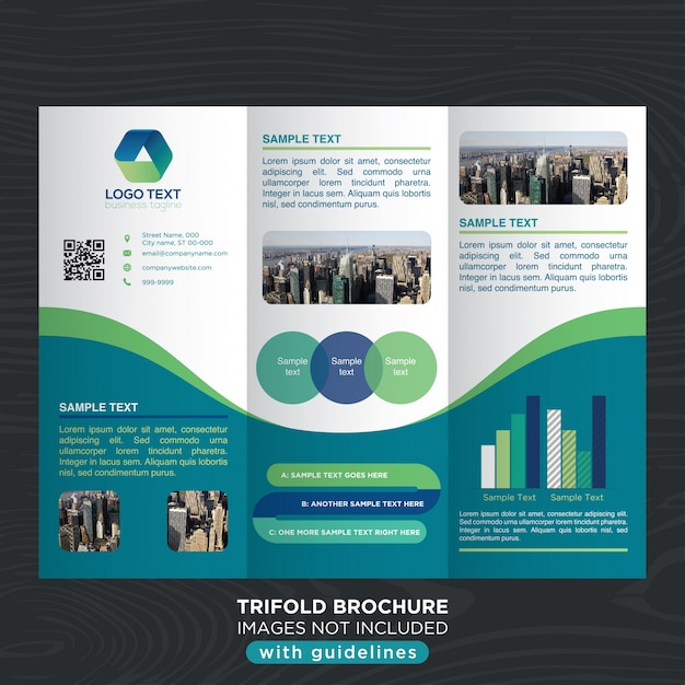 Business Trifold Brochure Template With Curves Design Vector  Free