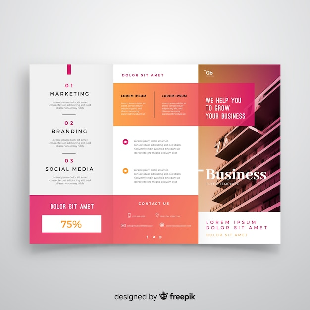 Business trifold flyer template Free Vector