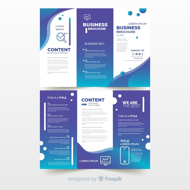 Business trifold flyer Free Vector