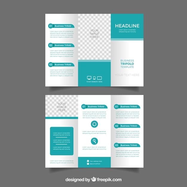 business trifold in flat style vector free download