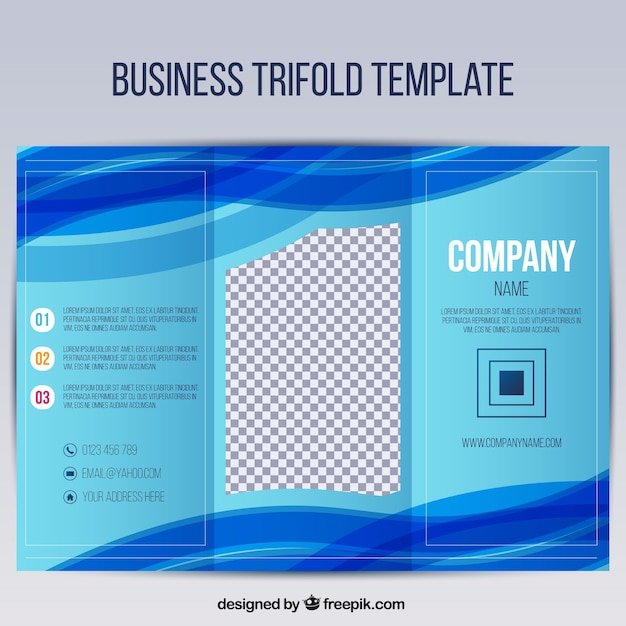 Business trifold template with blue wavy forms