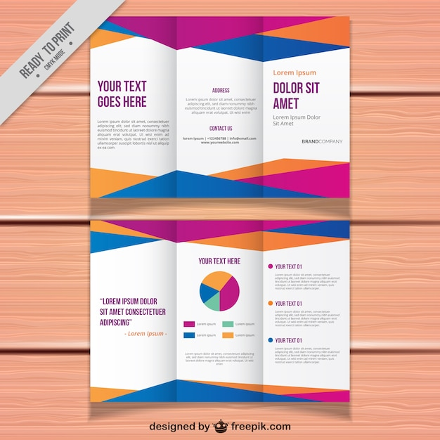 Business trifold template with colored forms