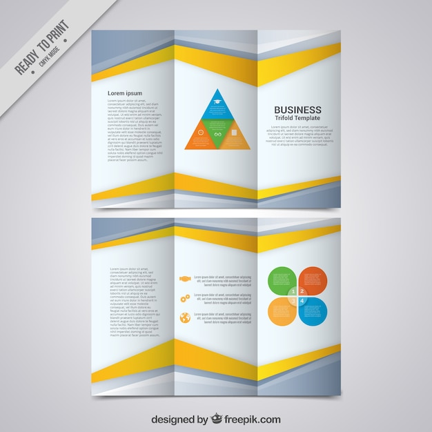 Business trifold template with gray and yellow forms