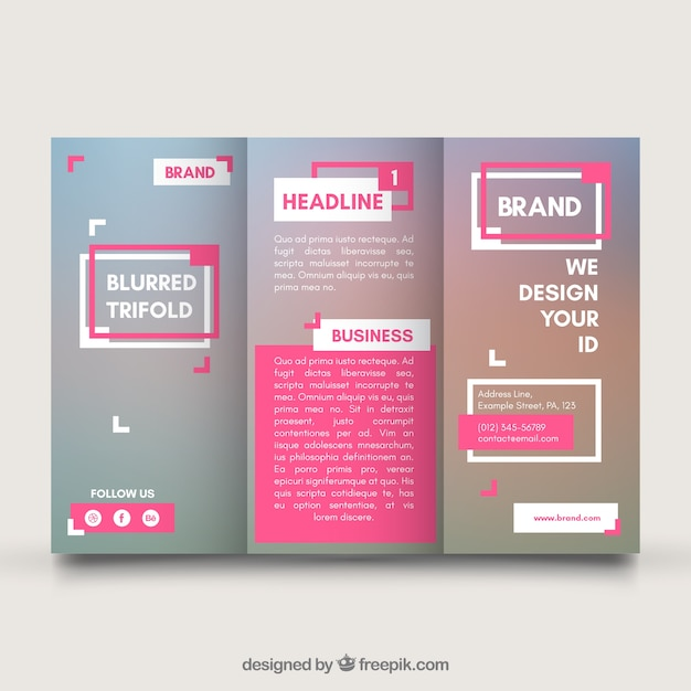 Business trifold template with pink elements Free Vector