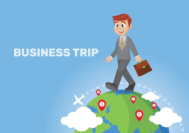 Business trip and travel around the world. Premium Vector