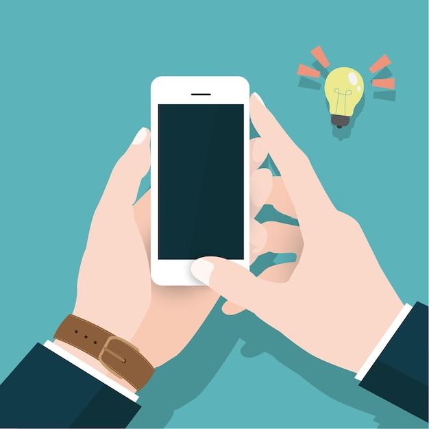 Концепция бизнес-вектора с ручным смартфоном Premium векторы