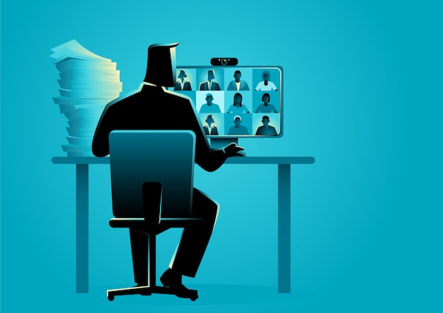 Business vector illustration of a man figure having video conference with group of people Premium Vector
