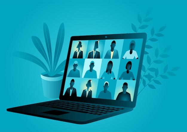 Бизнес векторная иллюстрация ноутбука, приложения для видеоконференции с группой людей Premium векторы