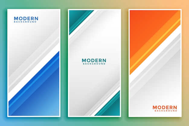 Business vertical banner set in line style Free Vector