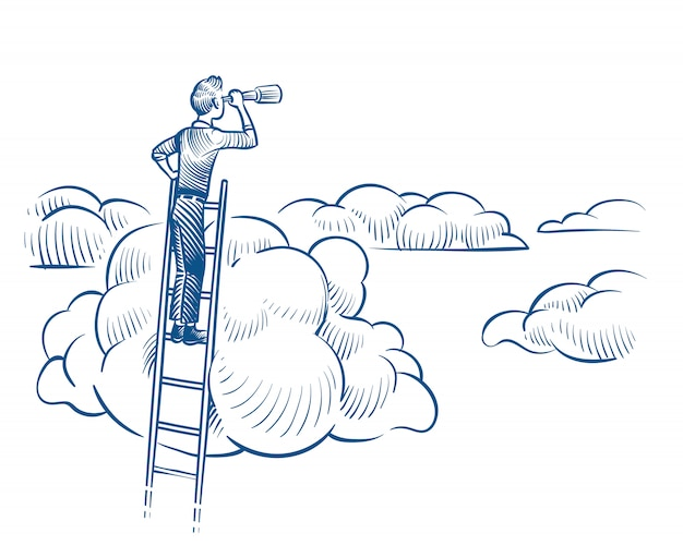 Business vision. businessman with telescope standing on ladder among clouds. successful future achievements sketch vector concept Premium Vector