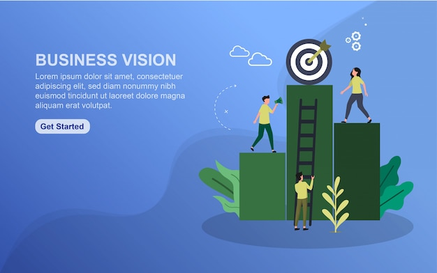 Business vision landing page template. Premium Vector