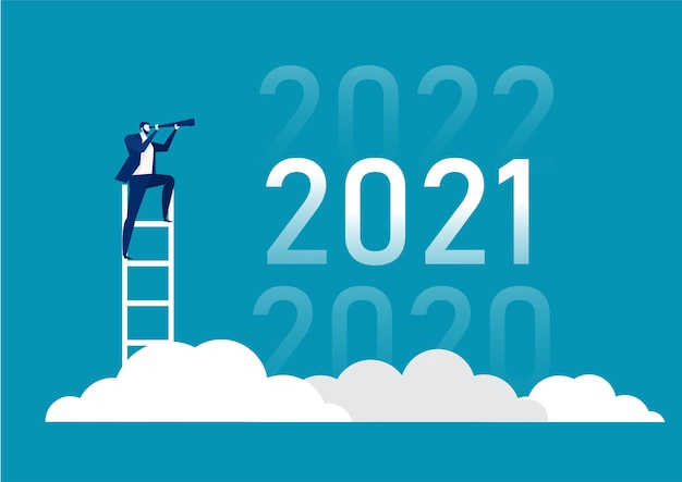 Business vision with binoculars for opportunities in spyglass of 2020, 2021, 2022 Premium Vector