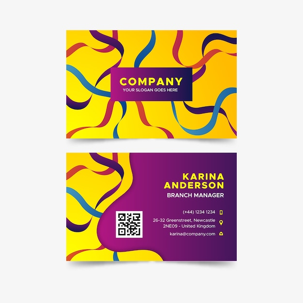 Business visiting card abstract colorful template Free Vector