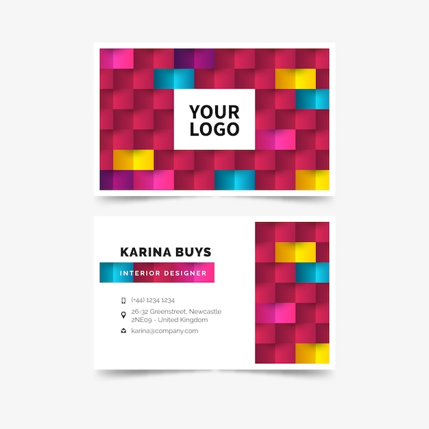 Business visiting card template abstract colorful Free Vector