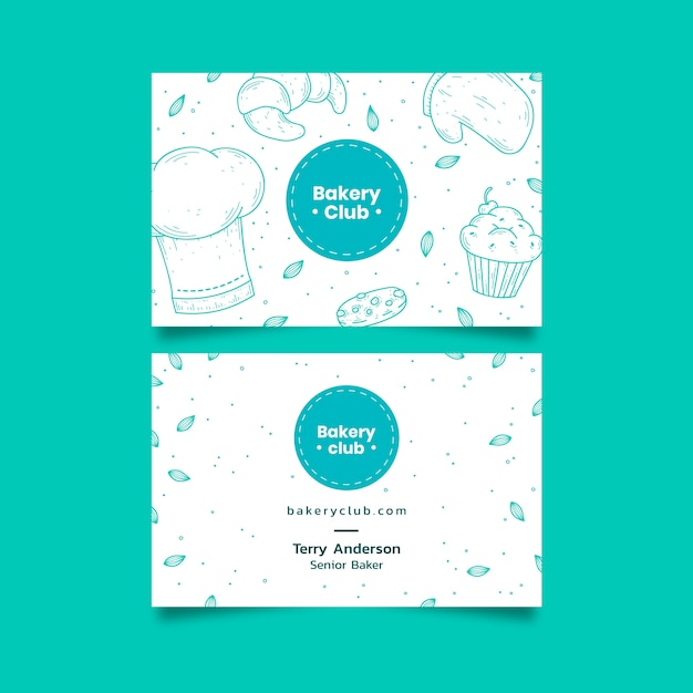 Business visiting card template for bakery club Premium Vector