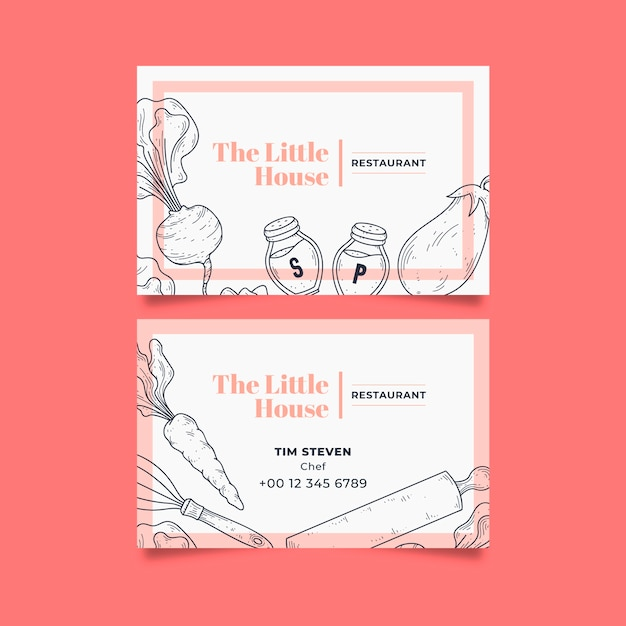 """Business visiting card template for """"little house"""" restaurant Free Vector"""