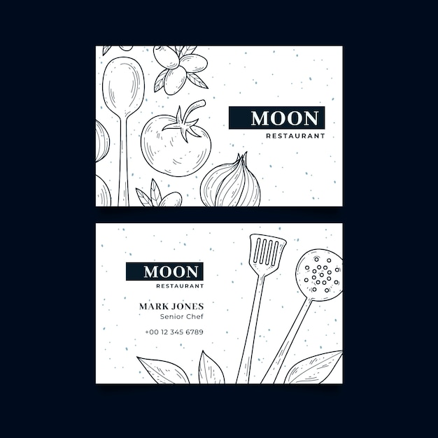 Business visiting card template for moon restaurant Free Vector