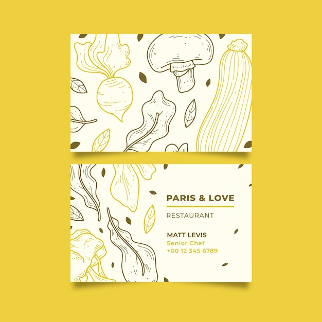Business visiting card template for natural restaurant Free Vector