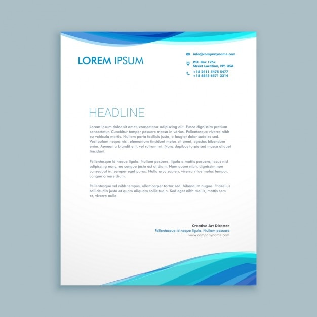 business wave letterhead design free vector