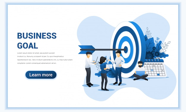 Business web banner concept design. people work to achieve business target. reach the target business, goal achievement, leadership. Premium Vector