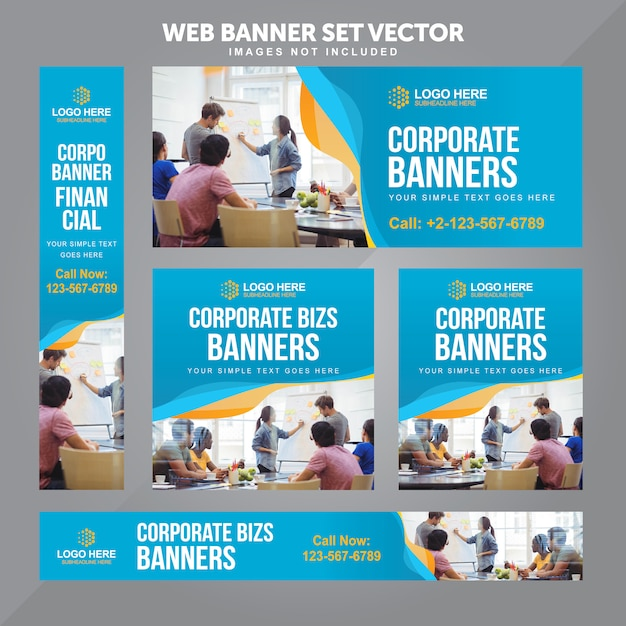 Business web banner set vector background templates Premium Vector