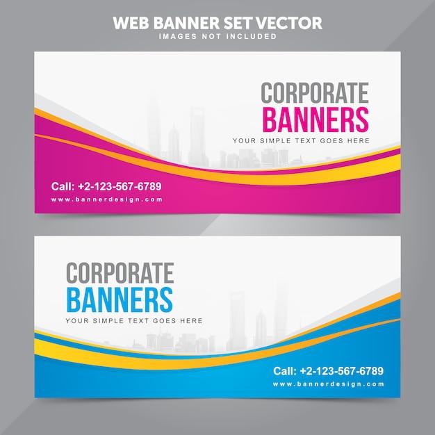 Business web banner set vector background templates Premium Vector