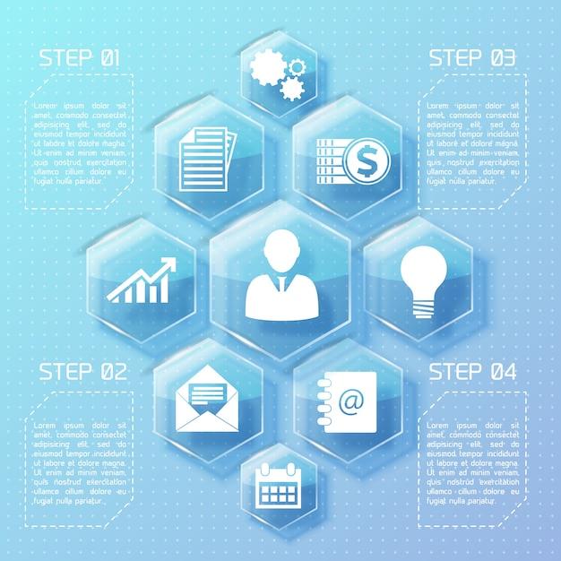 Бизнес-инфографика веб-дизайна со стеклянными шестиугольниками белыми значками и четырьмя вариантами иллюстрации Бесплатные векторы