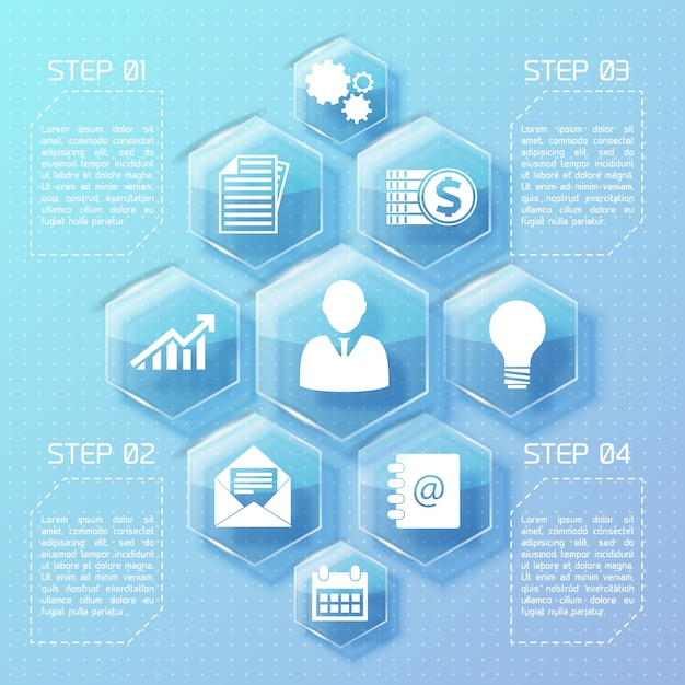 Business web design infographics with glass hexagons white icons and four options illustration Free Vector