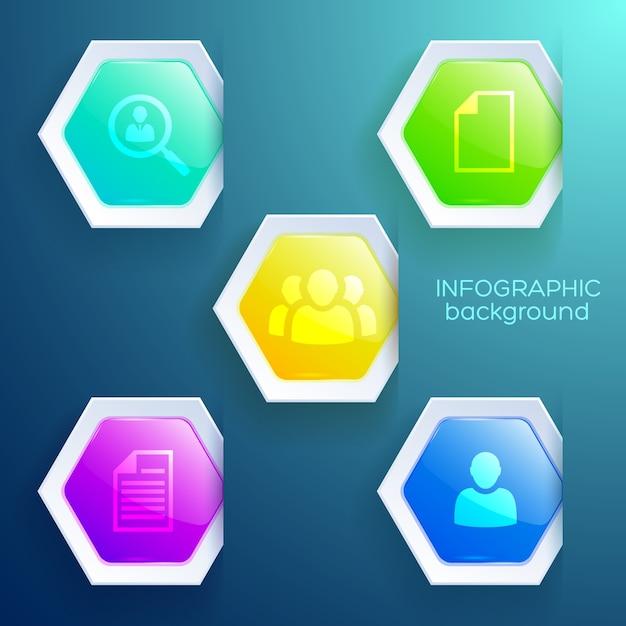 光沢のあるカラフルな六角形とアイコンでビジネスウェブインフォグラフィックの概念 無料ベクター
