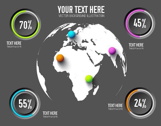 丸いボタンの割合と地球上のカラフルなボールとビジネスウェブインフォグラフィックの概念 無料ベクター