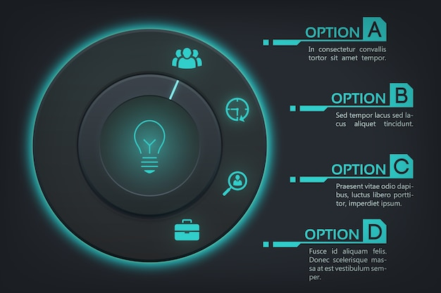 Modello di business web infografica con quattro passaggi Vettore gratuito