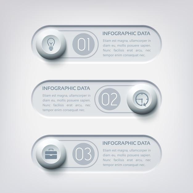 灰色のボタンとアイコンの丸い3つの水平方向のバナーを持つビジネスwebインフォグラフィック 無料ベクター