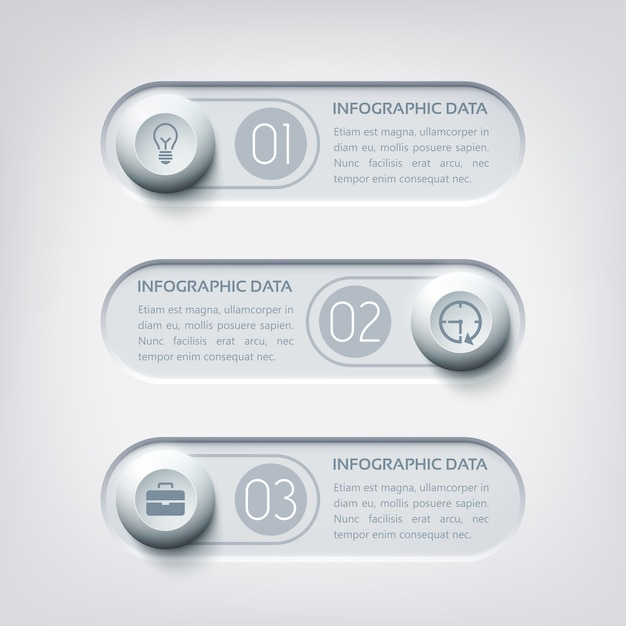 Infografica web aziendale con tre bandiere orizzontali pulsanti rotondi e icone nei colori grigi Vettore gratuito