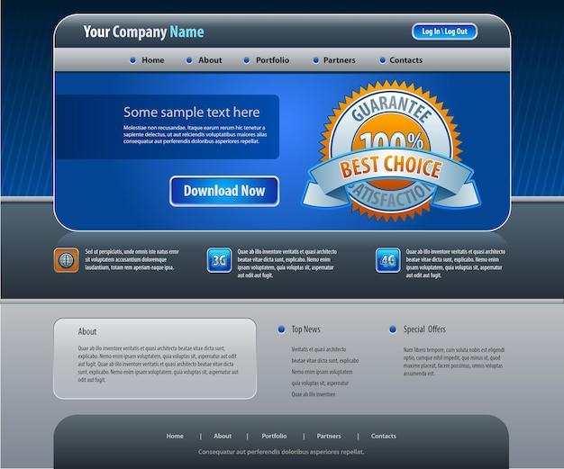 ビジネスのウェブサイトのデザインテンプレート Premiumベクター