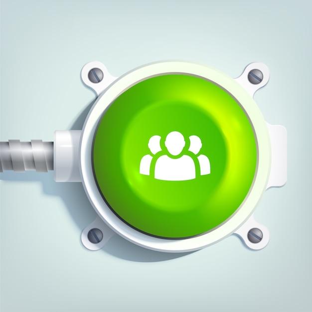 チームアイコンと金属製のポールに緑色の丸いボタンが分離されたビジネスウェブテンプレート 無料ベクター