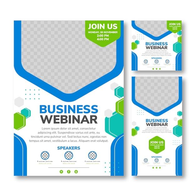Шаблон для печати флаера бизнес-вебинара Premium векторы