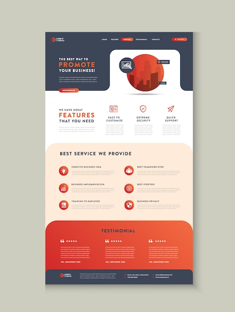 Business Website Landing Page App Landing Page Web User Interface Design Web Wire Frame Template Premium Vector