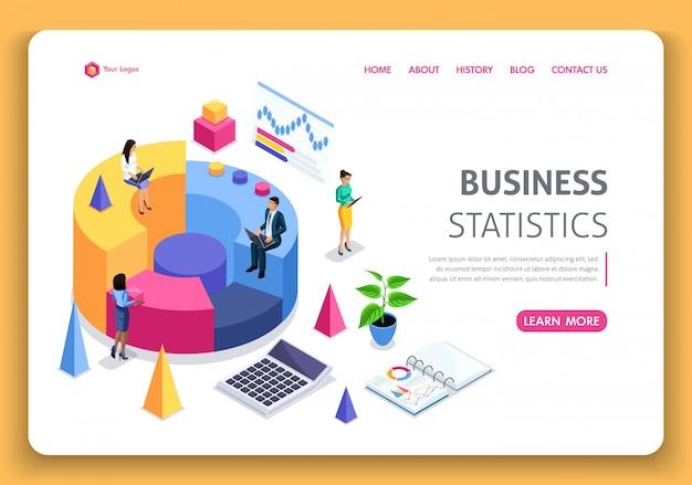 ビジネスウェブサイトテンプレート。等尺性の概念。会社の業績、分析のためのコンサルティング。統計とビジネスステートメント。編集とカスタマイズが簡単 Premiumベクター