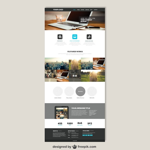 Business Website Template Vector Free Download - Brochure website templates