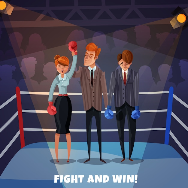 Business winner loser characters women men  with boxing ring and business people fight and win Free Vector
