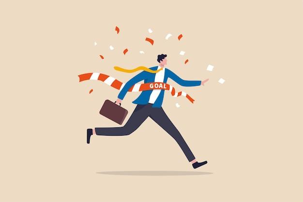 目標を達成するビジネスの勝者、成功のお祝い Premiumベクター